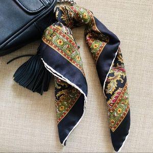 Vintage silk paisley pocket square scarf
